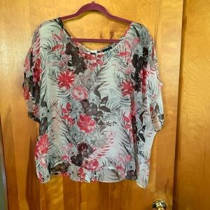 Torrid Button Back Floral Blouse Size 2